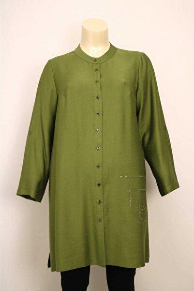SEÇİL Kadın Yeşil Önden Düğmeli Tunik