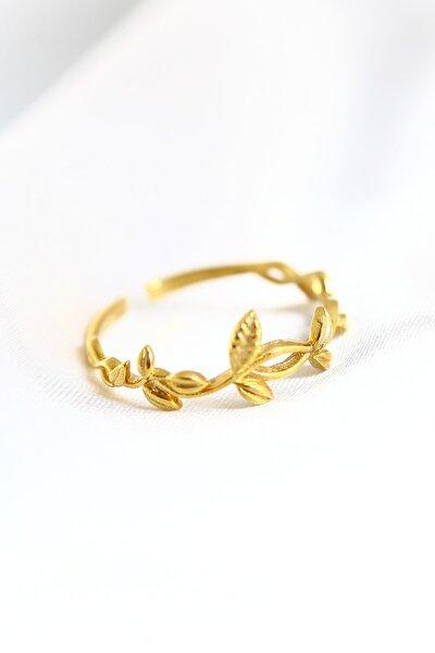 LOTUS GÜMÜŞ 14k Gold Kaplama Aşk Sarmaşığı Ayarlanabilir Kadın Yüzük