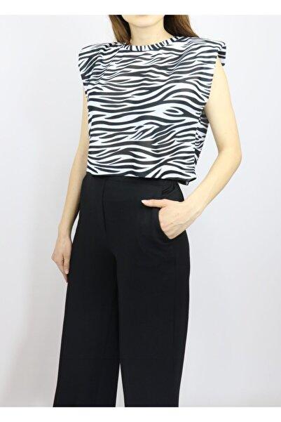 Amorestia Kolsuz Zebra Desen Tişört Siyah