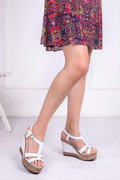 Deripabuc Hakiki Deri Beyaz Kadın Dolgu Topuklu Deri Sandalet Dp42-0700