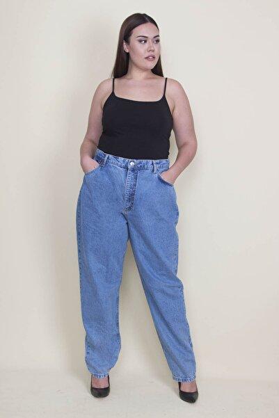 Şans Kadın Mavi Rahat Kesim 5 Cepli Kot Pantolon 65N21336