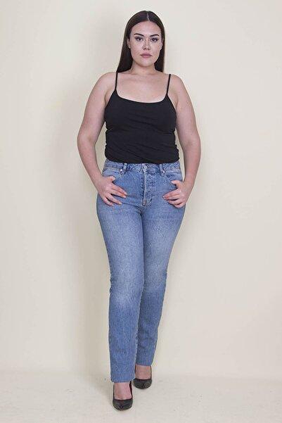 Şans Kadın Mavi Yıkama Efektli 5 Cepli Kot Pantolon 65N21304