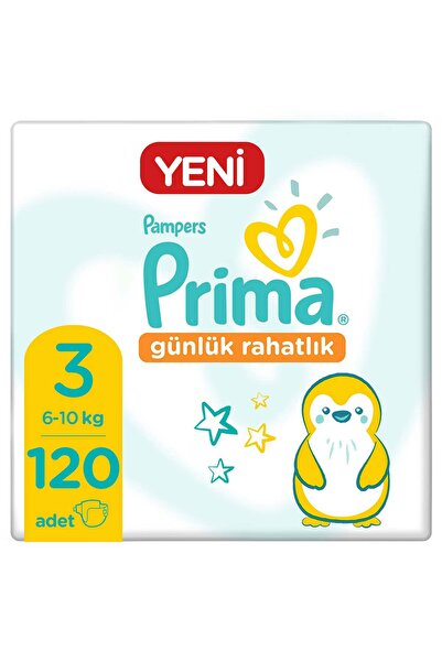 Prima Bebek Bezi Günlük Rahatlık 3 Beden 120 Adet Tekli Paket 30x4