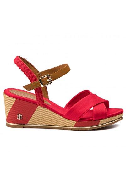 Tommy Hilfiger Kadın Kırmızı Dolgu Topuklu Ayakkabı