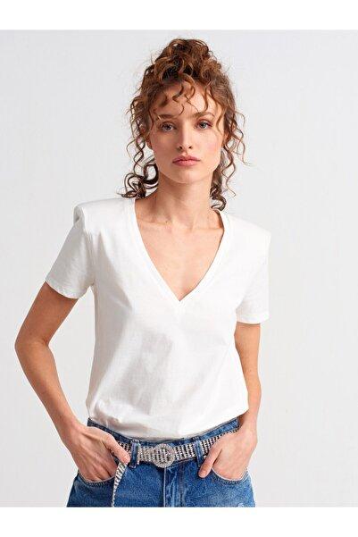 Dilvin Kadın  V Yaka Vatkalı T-shirt-ekru3505