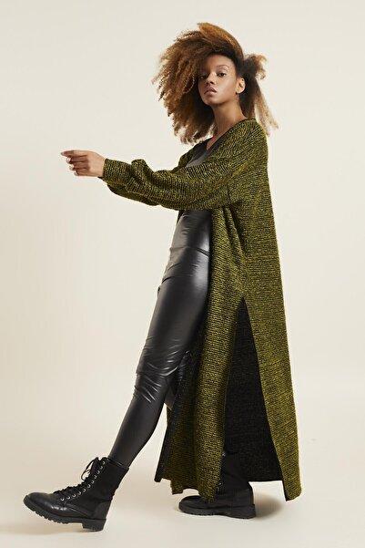 Quincey Kadın Yeşil Buklet Uzun Hırka