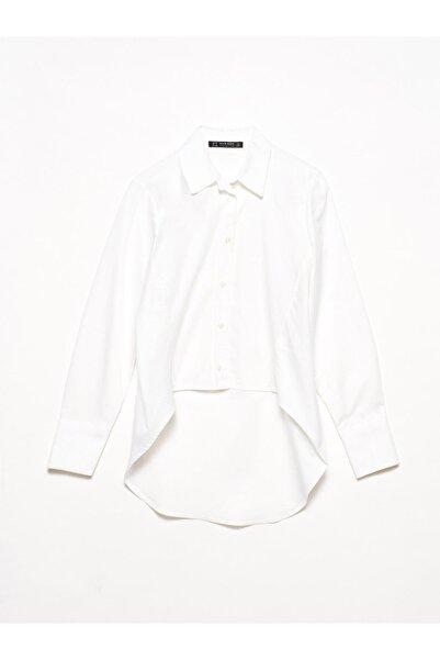 Dilvin Kadın Beyaz 5203 Önü Kısa Gömlek 103A05203