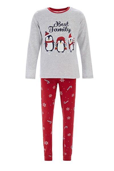 DeFacto Kız Çocuk Gri Yılbaşı Temalı Pijama Takımı