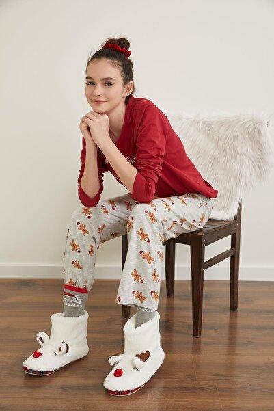 DeFacto Fit Kadın Gri Yılbaşı Konseptli Uzun Kollu Pijama Takımı