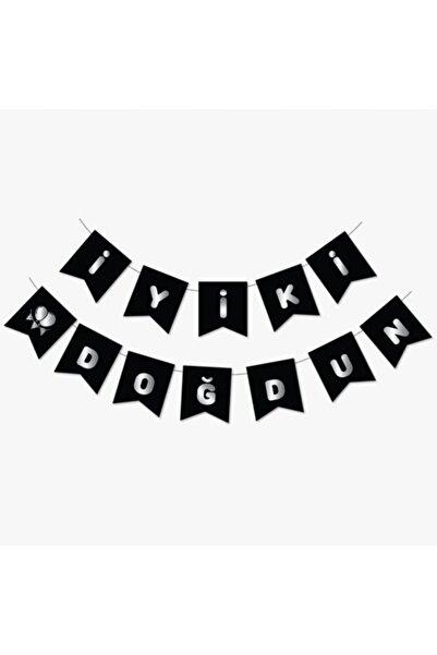 BALON PARTİ Siyah-gümüş Iyiki Doğdun Banner