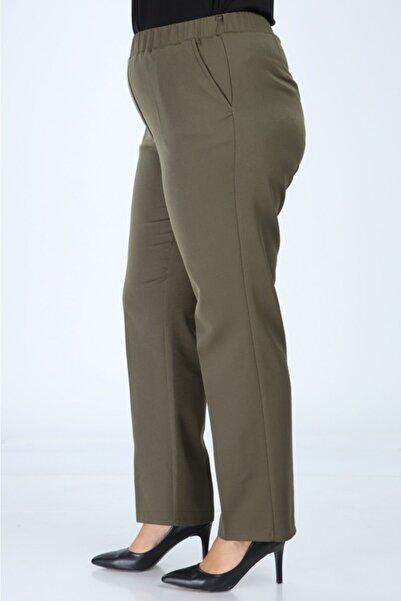 ASYA GİYİM Kadın Haki Beli Lastikli Büyük Beden Pantolon Kumas Pantolon