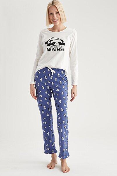 DeFacto Fit Kadın Lacivert Panda Baskılı Uzun Kollu Pijama Takımı