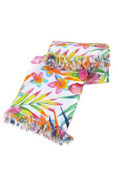 Minteks Unisex Renkli Tropik Bahama Saçaklı Plaj Havlusu 75x150