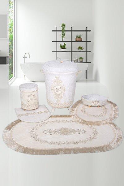 Bonny Home Exclusive Krem 6 Prç Dantelli Banyo Kirli Çamaşır Sepeti Seti