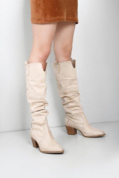GÖNDERİ(R) Gön Vizon Süet Körüklü Western Kovboy Günlük Kadın Çizme 32241