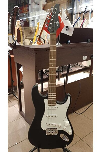 Vision Ucuz Elektro Gitar Mat Siyah Kılıf+jak+askı+pena
