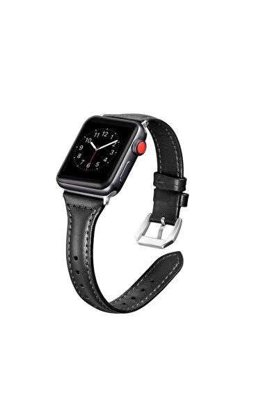 zore Apple Watch 44 Mm Dikişli Ince Tasarım Deri Kordon