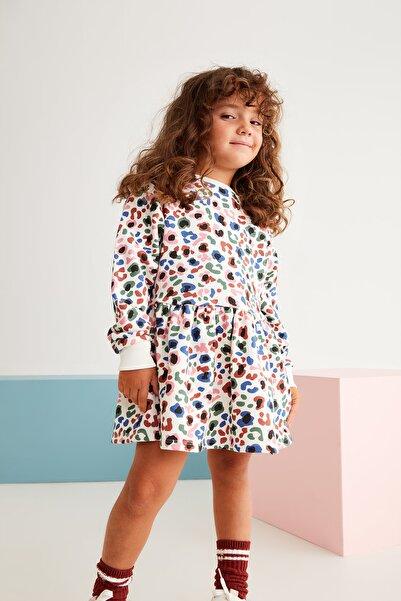 GRIMELANGE KIT Kız Çocuk Ekru Renkli Desenli Pileli Elbise