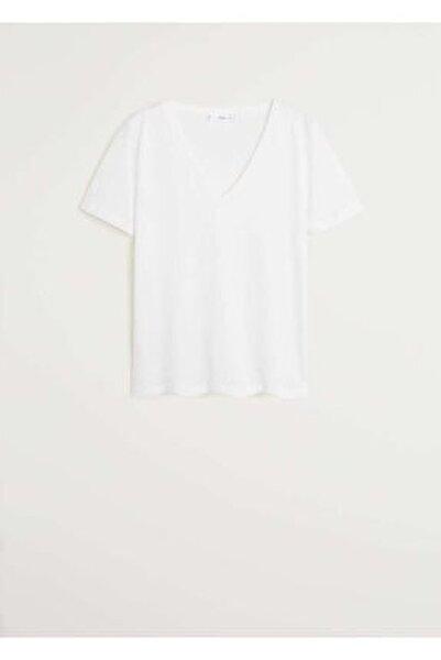 Kadın Beyaz V Yakalı Pamuklu Tişört 67084384