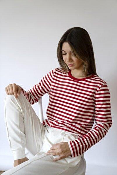 Kadın Çizgili Uzun Kollu Bisiklet Yaka T-shirt