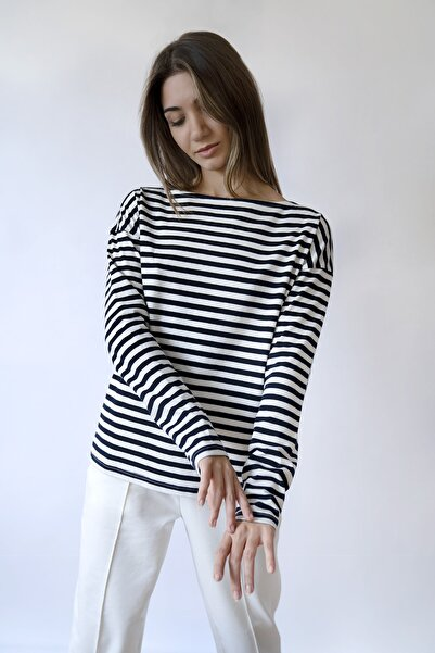 BeCasual Kadın Çizgili Uzun Kollu Kayık Yaka T-shirt