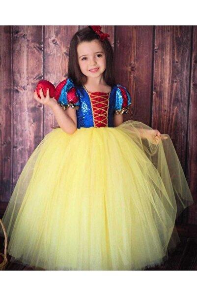 Patiska Nostalji Kız Çocuk Sarı Pamuk Prenses Elbisesi