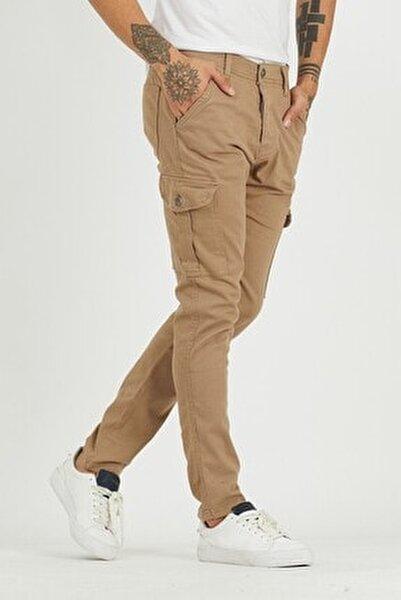Erkek Camel Kargo Cep Pantolon