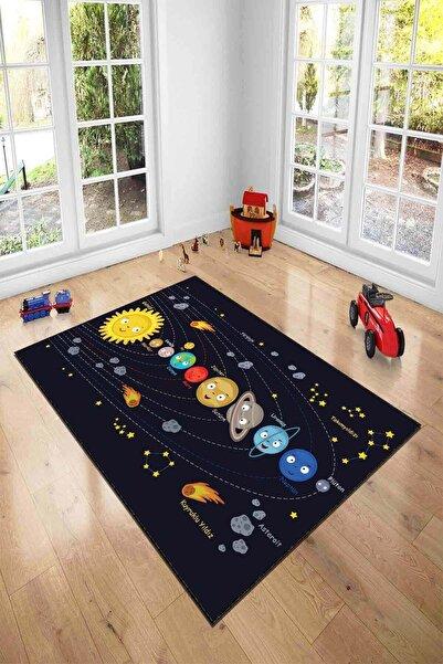 Viva Home Gezegenler Uzay Makinede Yıkanabilir Kaymaz Tabanlı Çocuk Halısı