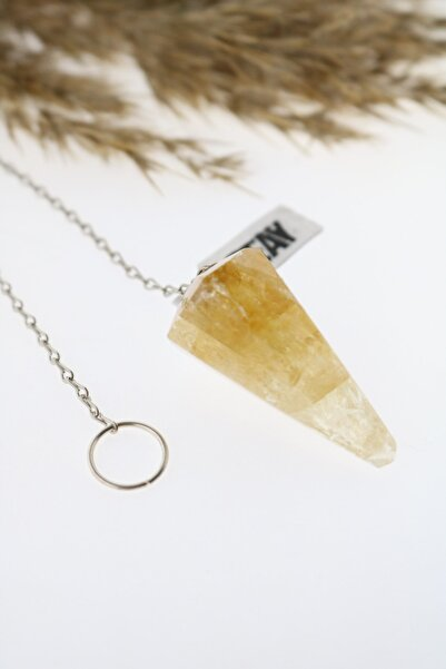 Seay Kadın Sarı Sitrin Modeli Sarkaç Zincirli Pandül Bereket Taşı