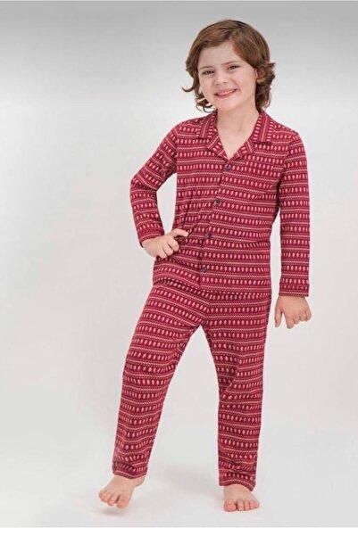 Arnetta Erkek Çocuk Bordo Baba Oğul Kombin Pijama Takım