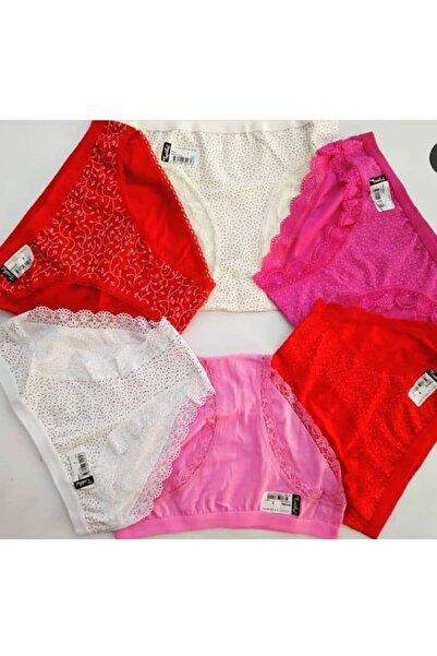 Tutku Kadın Kırmızı Pembe Ekru Bikini Boy 6 Adet Çok Renkli