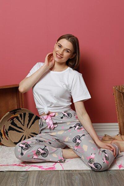 pijamacity Kadın Gri Desenli Ince Kadife Pijama Altı