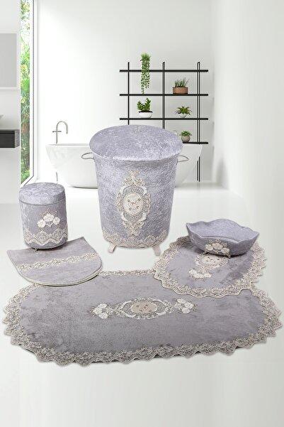 Bonny Home Gri Lisa Çeyizlik Banyo Kirli Çamaşır Sepeti ve Banyo Paspası Seti 6 Parça