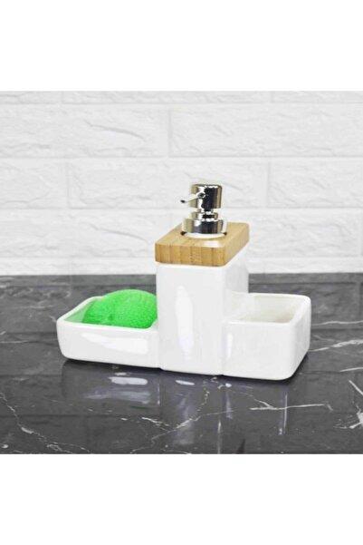 ACAR Sıvı Porselen Bambulu Sabunluk