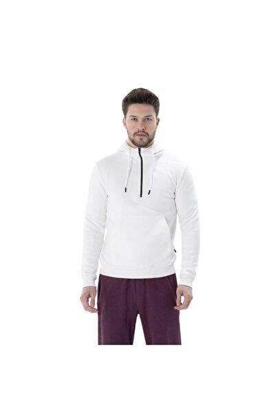 Exuma Erkek Beyaz Yarım Fermuar Kapüşonlu Sweatshirt 2012051