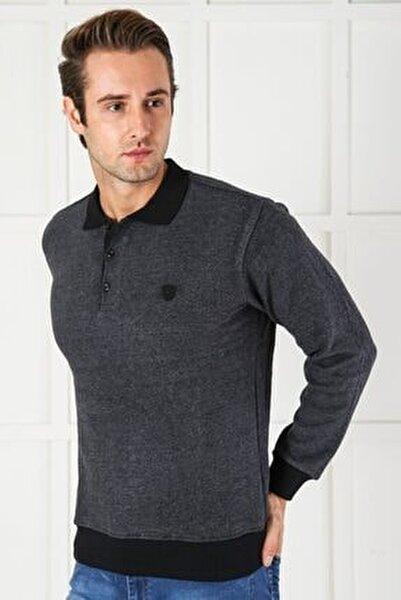 Erkek Gri Düğmeli Kalın Polo Yaka Eteği Lastikli Selanik Örgü Rahat Ve Geniş Kalıp Sweatshirt