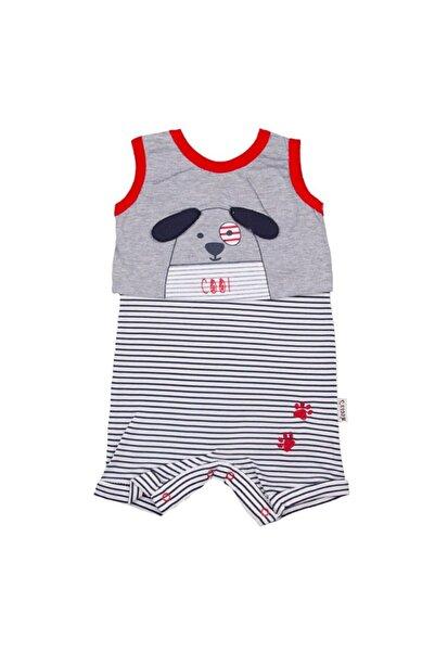 bebegen Bebek Gri   Kırmızı Biyeli Köpek Baskılı Çizgili Tulum
