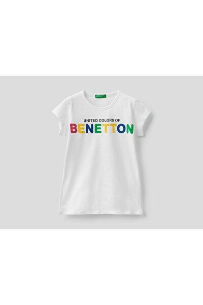 United Colors of Benetton Kız Çocuk Beyaz Yazı Baskılı T-Shirt