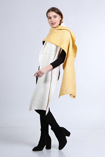 uniq store Kadın Sarı Ekru Uzun Atkı Model-102