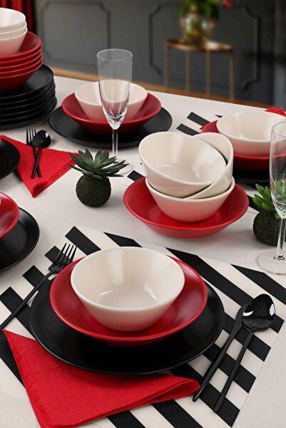 Keramika Kırmızı Siyah Krem Hitit Yemek Takımı 12 Kişilik 36 Parça