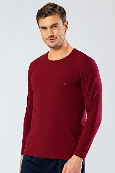 Cacharel Erkek Bordo O Yaka Uzun Kollu T-Shirt