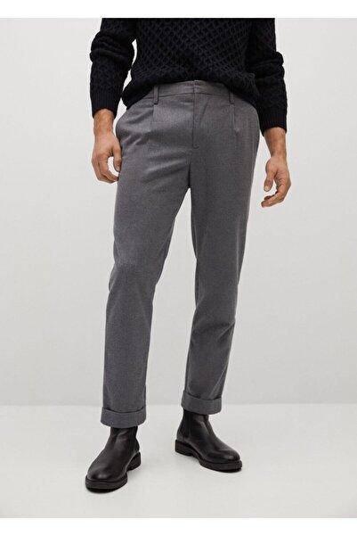 MANGO Man Erkek Gri Pilili Jogging Pantolon