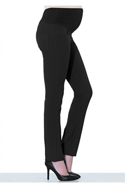 Ebru Maternity 1319 - Siyah Kumaş Klasik Hamile Pantolonu