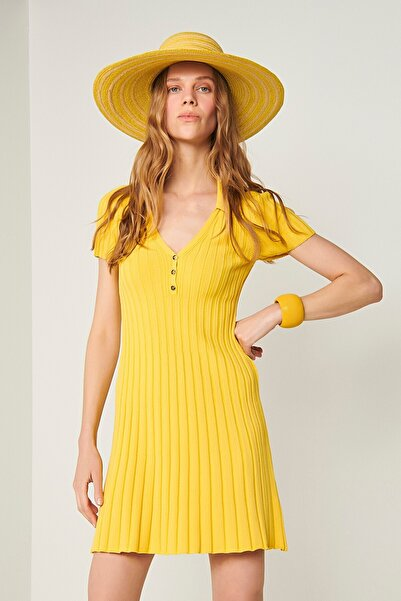 JOIN US Polo Yaka Triko Elbise-sarı