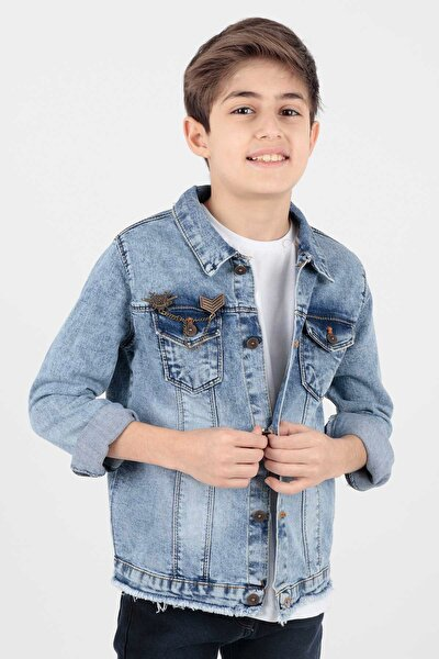Ahenk Kids Erkek Çocuk Mavi Arma Detaylı Jean Ceket Ak888946