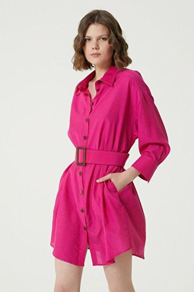 Network Kadın Regular Fit Fuşya Kemer Detaylı Mini Elbise 1079018