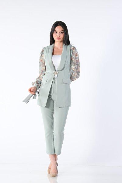 Yare Kadın Yeşil Y Kolları Çift Ceket Y-8486