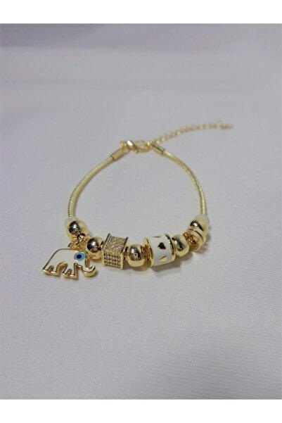 Accessories Kadın Altın Kaplama Çelik Beyaz Filli Pandora Bileklik