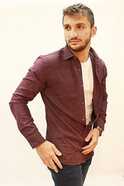 Twister Jeans Erkek Bordo Düz Renk Gömlek Eg 1728
