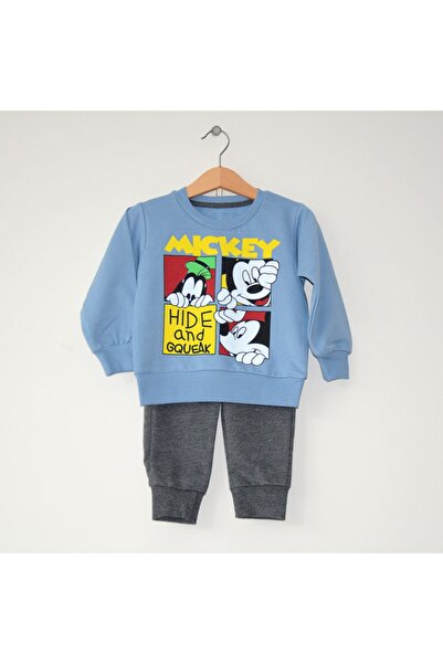 Mickey Mouse Miniya Unisex Çocuk Disney Mavi Gri Eşofman Takımı